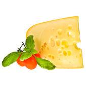 Morceau de fromage emmental décoré de tomates cerises — Photo