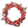 Christmas wreath of nature leaves and berries holly ilex isolated on white background. — Stock Photo #28343475