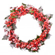 Christmas wreath of nature leaves and berries holly ilex isolated on white background. — Foto Stock