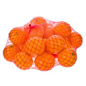 Fresh tangerines in mesh sack isolated on white background — Stock Photo