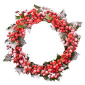 Christmas wreath of nature leaves and berries holly ilex isolated on white background. — Stock Photo
