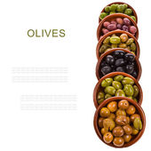 Different varieties of olives marinated in traditional clay bowls isolated on white background — Stock Photo