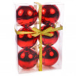 Closed package of red Christmas balls for the Christmas tree isolated on white background — Stock Photo