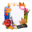Back to school concept , Photo of Items for school student gear and autumn maple leaves isolated on white background — Foto Stock
