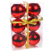 Closed package of red Christmas balls for the Christmas tree isolated on white background — Foto de Stock