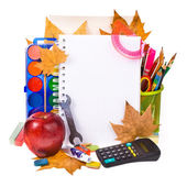 Back to school concept , Photo of Items for school student gear and autumn maple leaves isolated on white background — Stock Photo