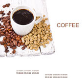 Freshly brewed black coffee in a white cup and grain unground coffee — Stock Photo