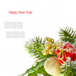 Merry Christmas edge of the branches of Christmas tree — Stock Photo #37790105