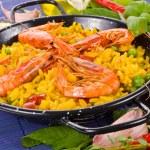 Traditional spanish rice - paella closeup typical Spanish food — Stock Photo