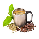 Two types of coffee beans and brew coffee in a steel mug — Stock Photo