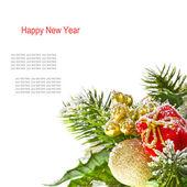 Borde feliz navidad de las ramas del árbol de navidad — Foto de Stock