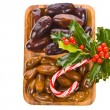 Stock Photo: Christmas treats - fresh figs on wooden plate