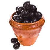 Marinated big black olives in a clay pot — Stock Photo