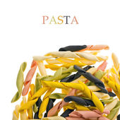 Closeup multicolored pasta scattered — Stock Photo