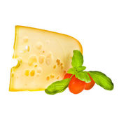 Emmental cheese piece decorated with cherry tomatoes — Stock Photo