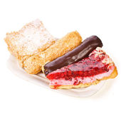 Fresh cakes, different appearance eclair — 图库照片
