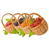 Wicker baskets with various fresh berries — Stock Photo