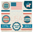 Set of vector stickers for Independence day of USA — Stock Vector