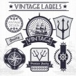 Vintage vector sail, nautical, travel labels — Stok Vektör