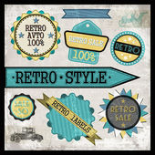 Retro cars sale labels. Vector illustrations set — Stock Vector