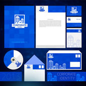 Blue corporate identity template with round elements. Vector company style for brandbook and guideline. — Stock Vector