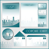 Architectural corporate identity template with blue city elements. Vector company style for brandbook and guideline. — Stock Vector