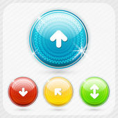 Color buttons with white arrow symbol. — Stock Vector