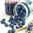 Blueberries and jars — Stock Photo