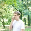 Man is talking on Mobile Phone — Stock Photo