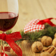 Red Wine and Christmas Food — Stock Photo