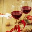 Red Wine and Christmas Arrangement — Stock Photo