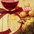 Stock Photo: Red Wine and Christmas Arrangement