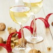 White Wine and Christmas Arrangement — Stock Photo