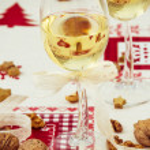 White Wine and Christmas Arrangement — Stock Photo