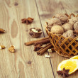 Stock Photo: Walnuts, Cinnamon, Dried Orange and Star Anise