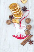 Christmas Ornament and Food Background — Stock Photo