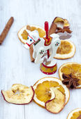 Christmas Horse, Spices and Dried Fruit arrangement — Stock Photo