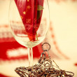 Wine Glass with Christmas Ornament — Stock Photo