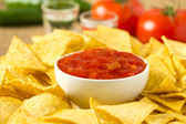 Nacho Chips and Salsa — Stock Photo