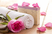 Natural Spa Treatment with Rose on Wooden Background — Stock Photo