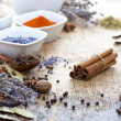Spices on wooden table — Stock Photo
