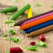 Stock Photo: Colorful crayons on wooden table