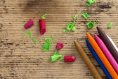Colorful crayons on wooden background — Stock Photo