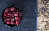 Frozen Raspberry on Wooden background — Stok fotoğraf