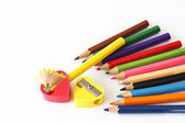 Crayon and pencil sharpener — Stockfoto