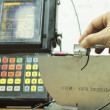 Foto Stock: Calibration standard probe of ultrasonic test