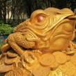 Feng Shui frog hold coin in the mouth sitting — Stock Photo