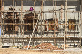 Wooden scaffolding three floor — Stock Photo