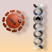 Retrovirus aanvallen van dna — Stockvector