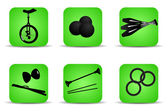 Juggling icons green — Stock Vector